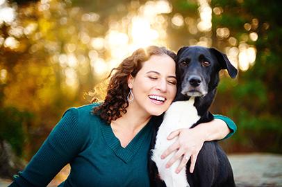 Erica Aitken with Dog, Atlanta Photographer, Arabia Mountain